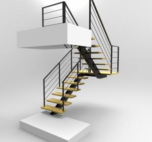 Rendu Escalier Pour un particulier Tolerie Générale 95250 Beauchamp conception de notre bureau d'etude en 3D réalisation en atelier tube acier et mache en bois Ile de France Paris